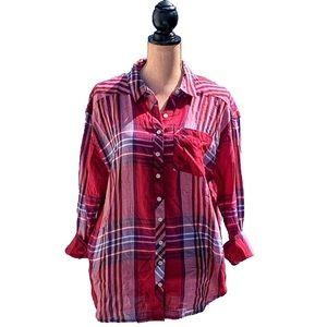 ☀️4/25 Girl Krazy Button-Up Plaid Shirt w/Pockets